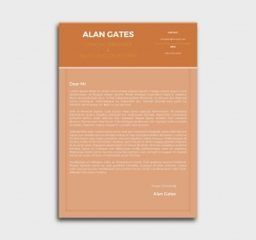 premium cv template - cover letter- without profile picture - orange