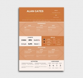 premium cv template - resume - without profile picture - orange