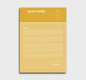 premium cv template - cover letter- without profile picture - yellow