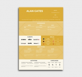 premium cv template - resume - without profile picture - yellow