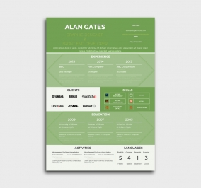 premium cv template - resume - without profile picture - green