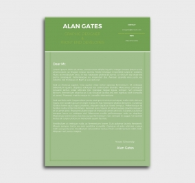premium cv template - cover letter- without profile picture - green