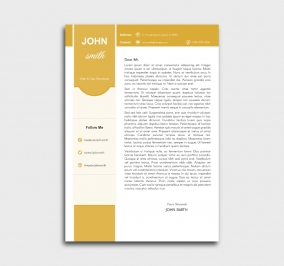 superior cv template - cover letter - without profile picture - yellow