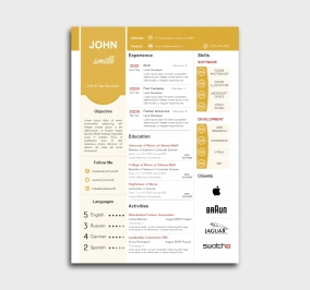 superior cv template - resume - without profile picture - yellow